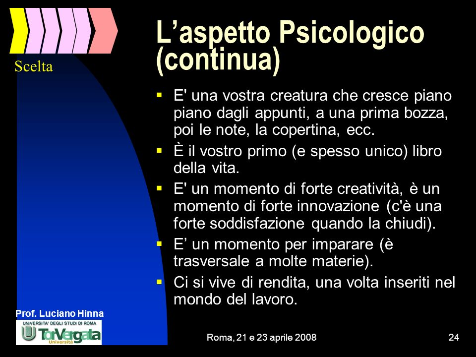Prof. Luciano Hinna Roma, 21 e 23 aprile 200824 Laspetto Psicologico (continua) E' una vostra creatura che cresce piano piano dagli appunti, a una pri