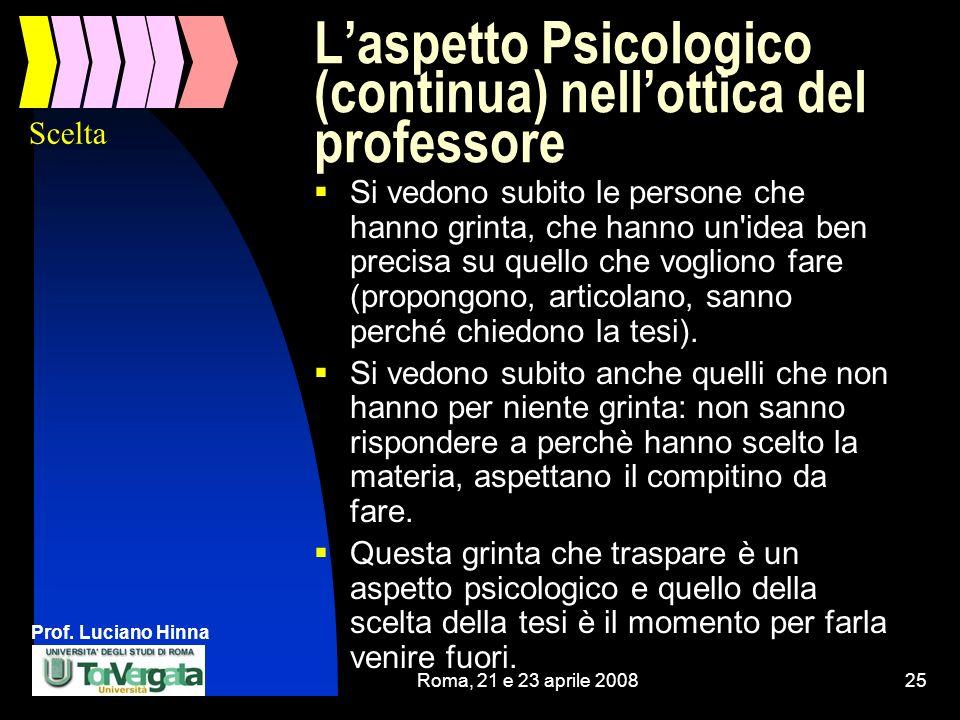 Prof. Luciano Hinna Roma, 21 e 23 aprile 200825 Laspetto Psicologico (continua) nellottica del professore Si vedono subito le persone che hanno grinta