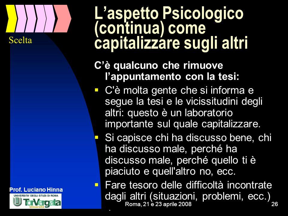 Prof. Luciano Hinna Roma, 21 e 23 aprile 200826 Laspetto Psicologico (continua) come capitalizzare sugli altri Cè qualcuno che rimuove lappuntamento c