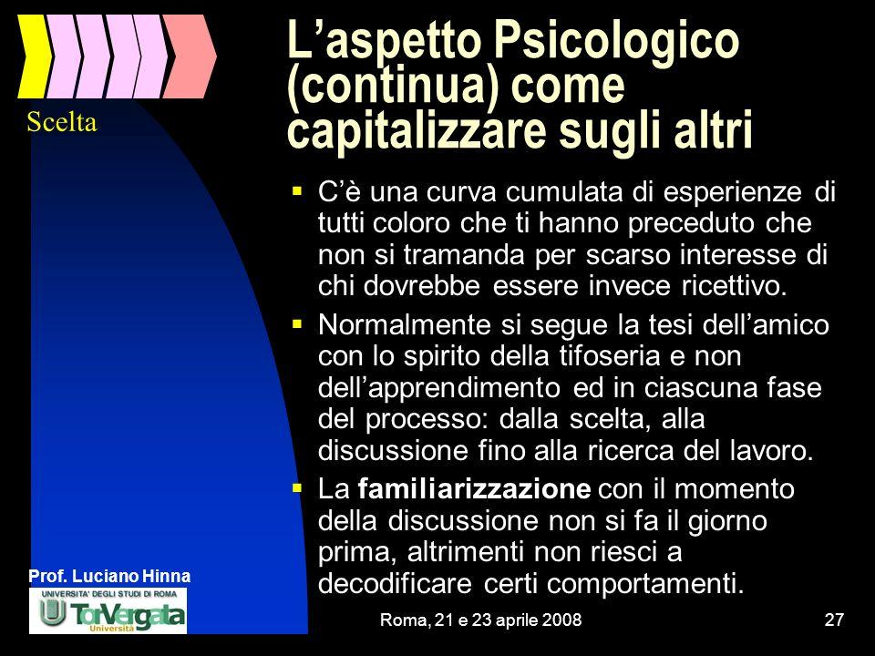 Prof. Luciano Hinna Roma, 21 e 23 aprile 200827 Laspetto Psicologico (continua) come capitalizzare sugli altri Cè una curva cumulata di esperienze di