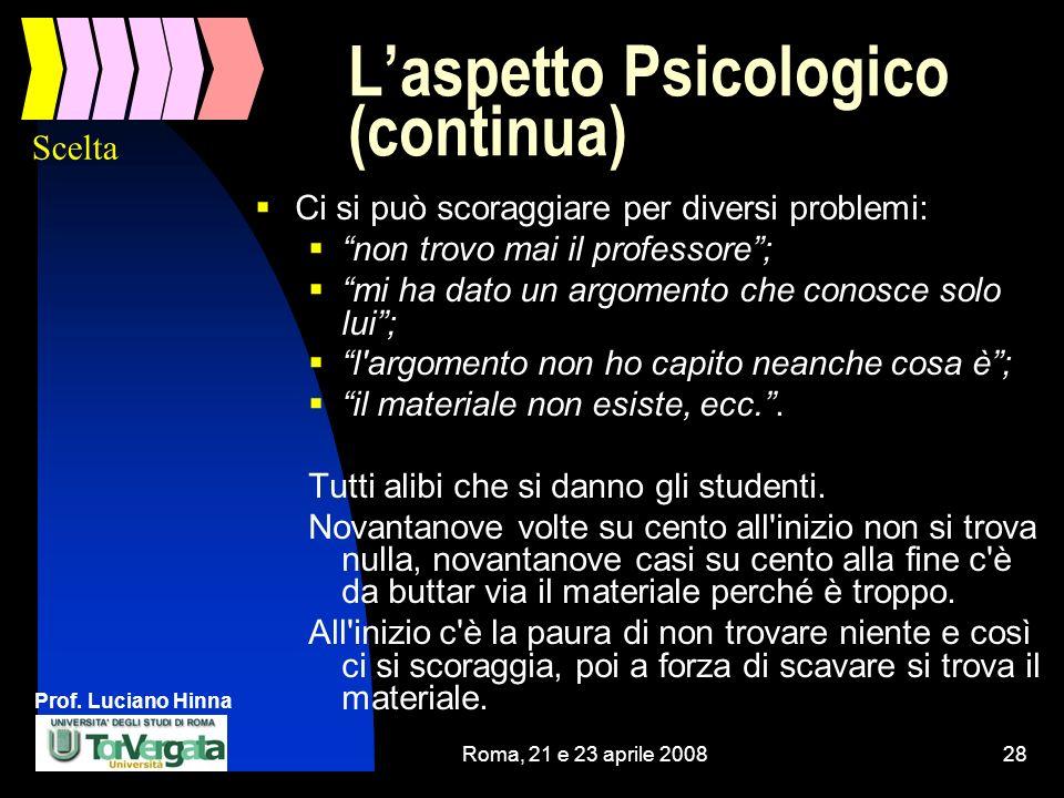 Prof. Luciano Hinna Roma, 21 e 23 aprile 200828 Laspetto Psicologico (continua) Ci si può scoraggiare per diversi problemi: non trovo mai il professor