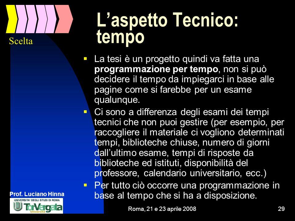 Prof. Luciano Hinna Roma, 21 e 23 aprile 200829 Laspetto Tecnico: tempo La tesi è un progetto quindi va fatta una programmazione per tempo, non si può