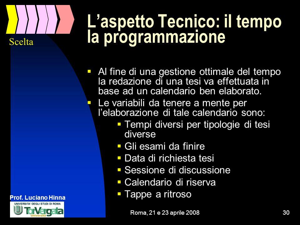 Prof. Luciano Hinna Roma, 21 e 23 aprile 200830 Laspetto Tecnico: il tempo la programmazione Al fine di una gestione ottimale del tempo la redazione d