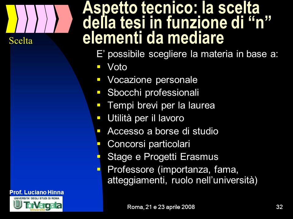 Prof. Luciano Hinna Roma, 21 e 23 aprile 200832 Aspetto tecnico: la scelta della tesi in funzione di n elementi da mediare E possibile scegliere la ma