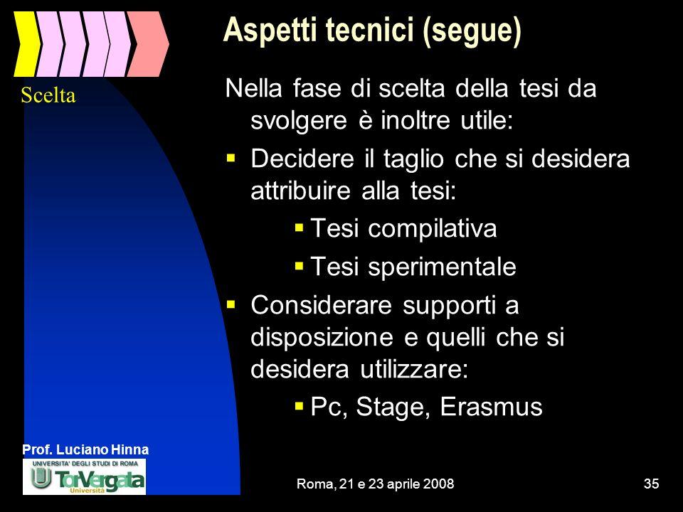 Prof. Luciano Hinna Roma, 21 e 23 aprile 200835 Aspetti tecnici (segue) Nella fase di scelta della tesi da svolgere è inoltre utile: Decidere il tagli