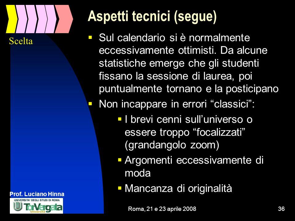 Prof. Luciano Hinna Roma, 21 e 23 aprile 200836 Aspetti tecnici (segue) Sul calendario si è normalmente eccessivamente ottimisti. Da alcune statistich
