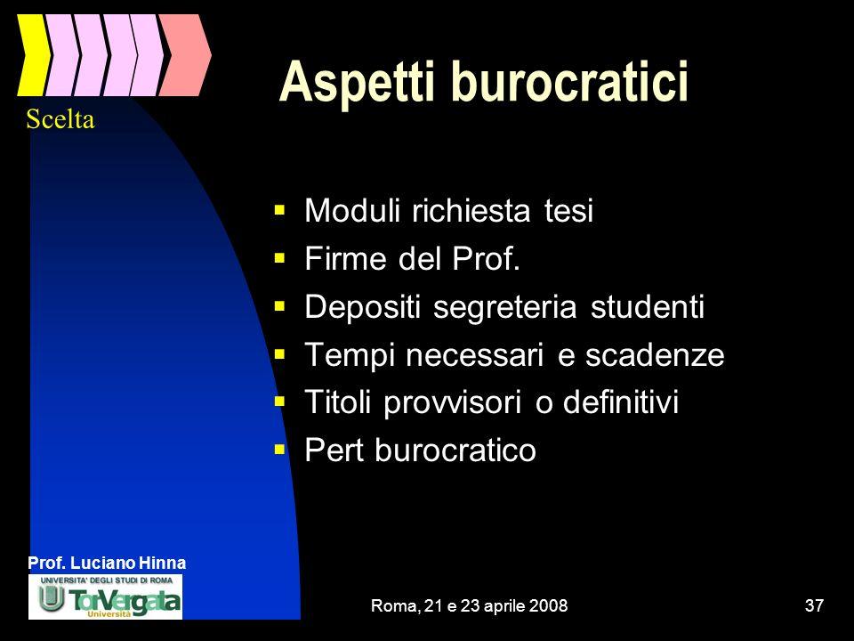 Prof. Luciano Hinna Roma, 21 e 23 aprile 200837 Aspetti burocratici Moduli richiesta tesi Firme del Prof. Depositi segreteria studenti Tempi necessari