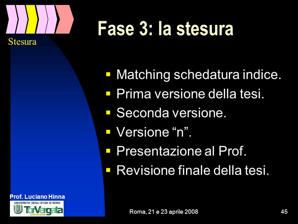 Prof. Luciano Hinna Roma, 21 e 23 aprile 200845 Fase 3: la stesura Matching schedatura indice. Prima versione della tesi. Seconda versione. Versione n