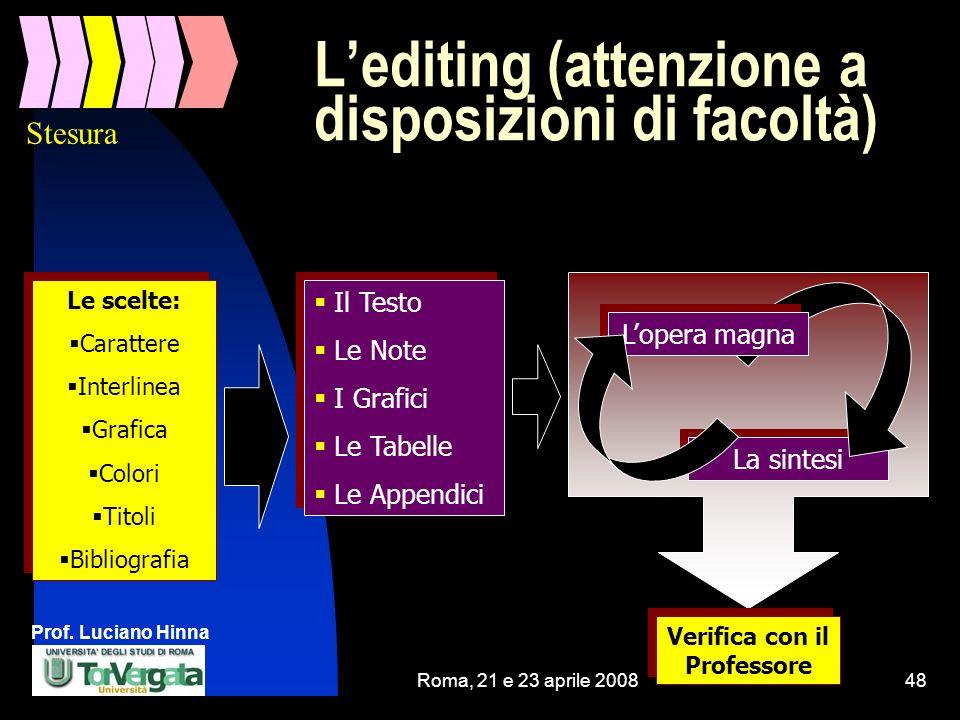 Prof. Luciano Hinna Roma, 21 e 23 aprile 200848 La sintesi Lopera magna Lediting (attenzione a disposizioni di facoltà) Le scelte: Carattere Interline