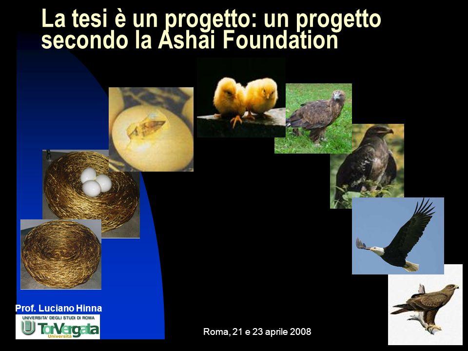 Prof. Luciano Hinna Roma, 21 e 23 aprile 20085 La tesi è un progetto: un progetto secondo la Ashai Foundation