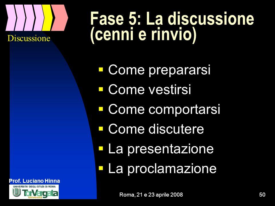 Prof. Luciano Hinna Roma, 21 e 23 aprile 200850 Fase 5: La discussione (cenni e rinvio) Come prepararsi Come vestirsi Come comportarsi Come discutere
