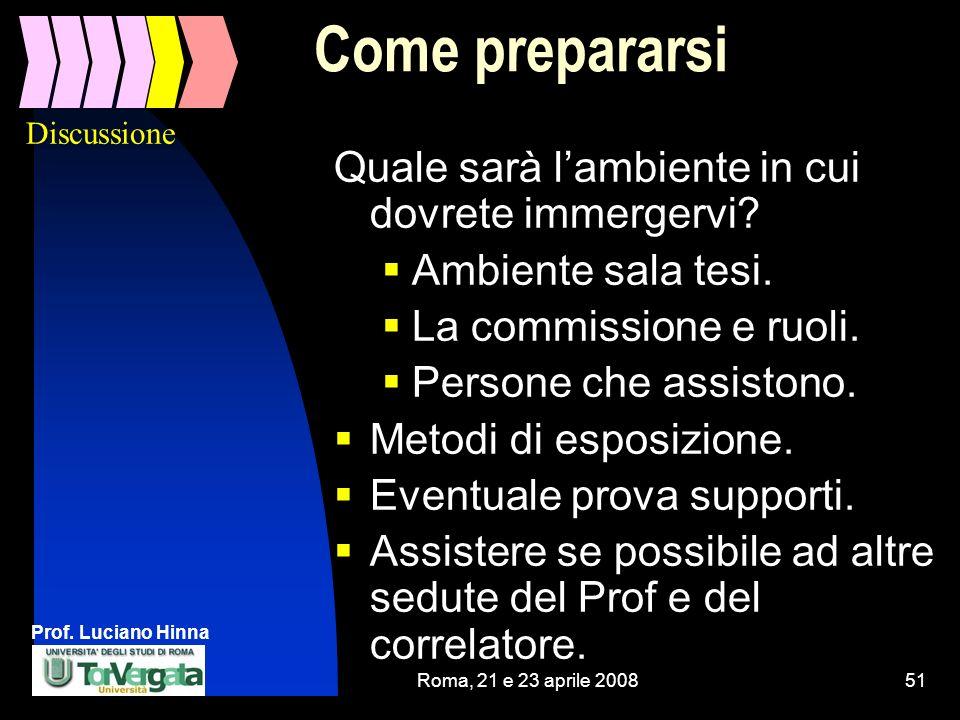 Prof. Luciano Hinna Roma, 21 e 23 aprile 200851 Come prepararsi Quale sarà lambiente in cui dovrete immergervi? Ambiente sala tesi. La commissione e r