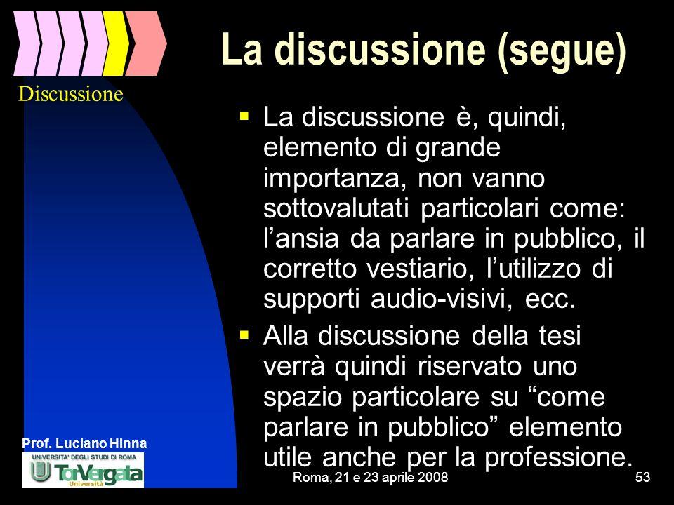 Prof. Luciano Hinna Roma, 21 e 23 aprile 200853 La discussione (segue) La discussione è, quindi, elemento di grande importanza, non vanno sottovalutat