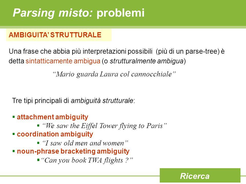 Parsing misto: problemi AMBIGUITA STRUTTURALE Una frase che abbia più interpretazioni possibili (più di un parse-tree) è detta sintatticamente ambigua