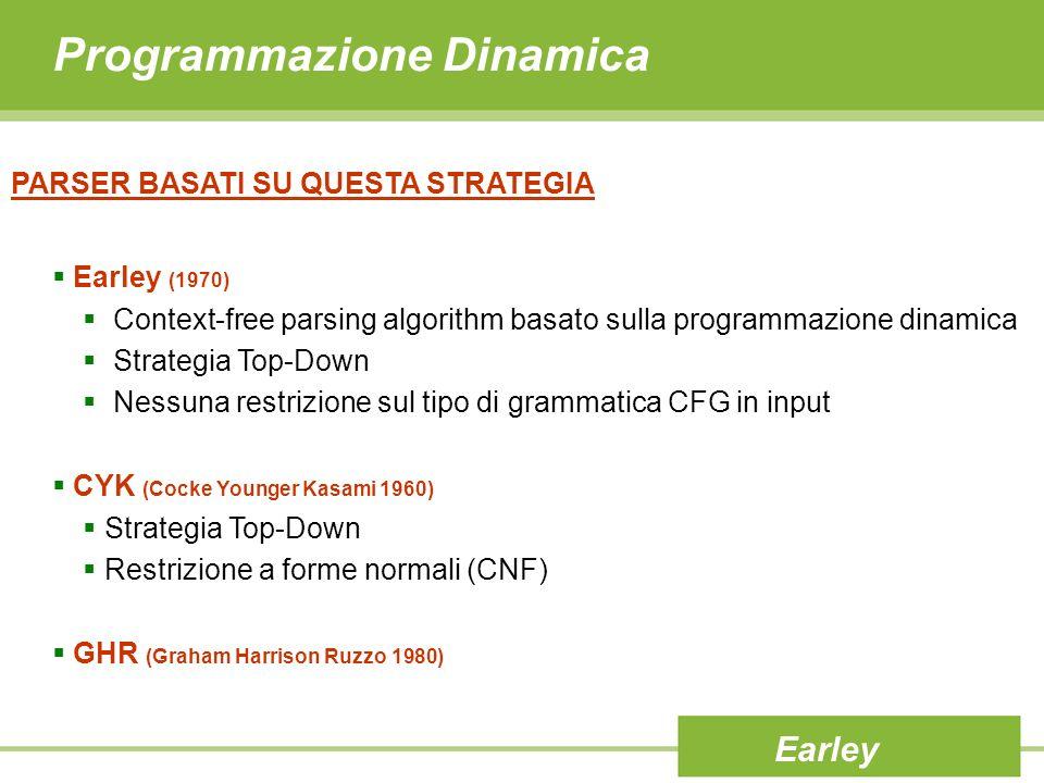 Programmazione Dinamica PARSER BASATI SU QUESTA STRATEGIA Earley (1970) Context-free parsing algorithm basato sulla programmazione dinamica Strategia