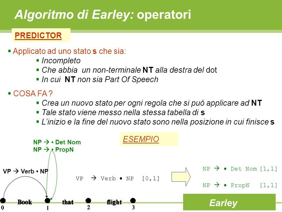 Algoritmo di Earley: operatori PREDICTOR Earley Applicato ad uno stato s che sia: Incompleto Che abbia un non-terminale NT alla destra del dot In cui