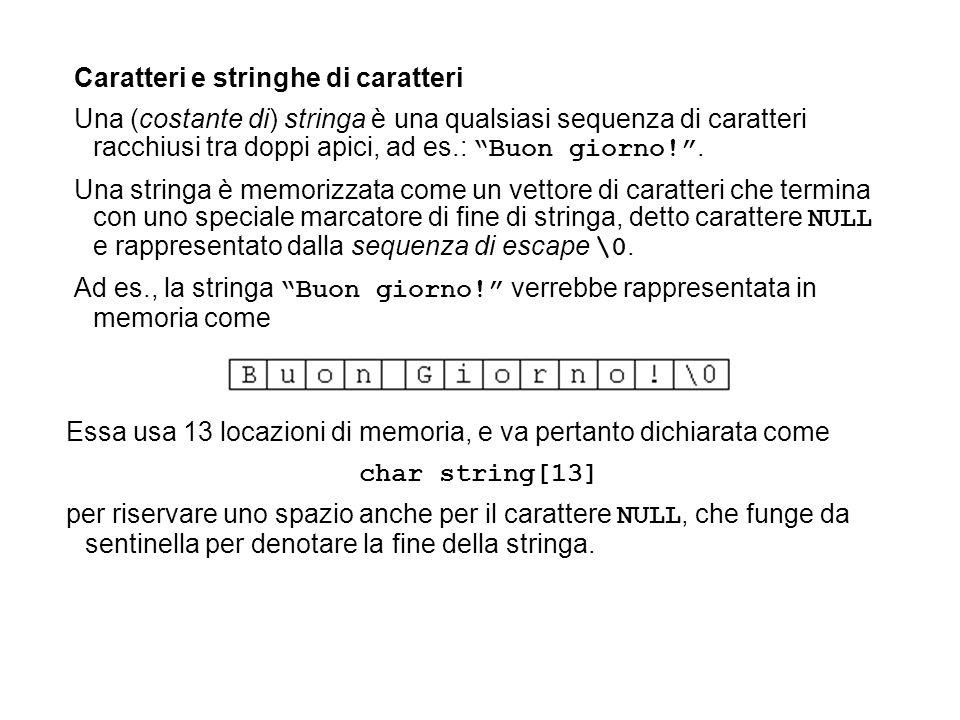 Caratteri e stringhe di caratteri Una (costante di) stringa è una qualsiasi sequenza di caratteri racchiusi tra doppi apici, ad es.: Buon giorno!. Una