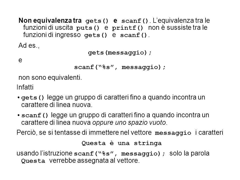 Non equivalenza tra gets() e scanf(). Lequivalenza tra le funzioni di uscita puts() e printf() non è sussiste tra le funzioni di ingresso gets() e sca