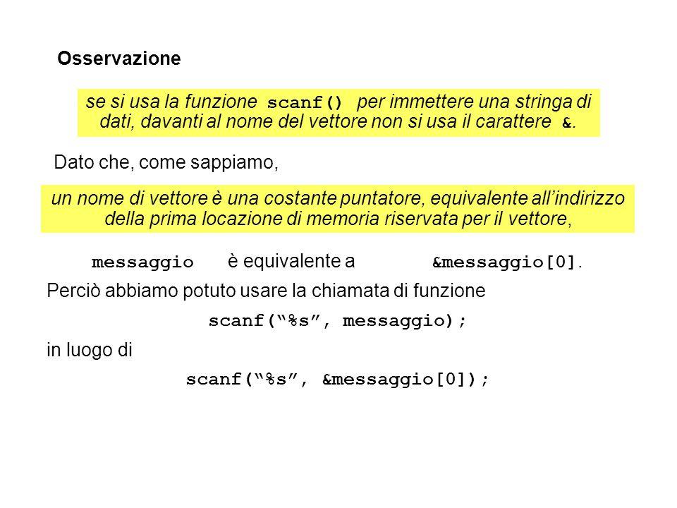 messaggio è equivalente a &messaggio[0]. Perciò abbiamo potuto usare la chiamata di funzione scanf(%s, messaggio); in luogo di scanf(%s, &messaggio[0]