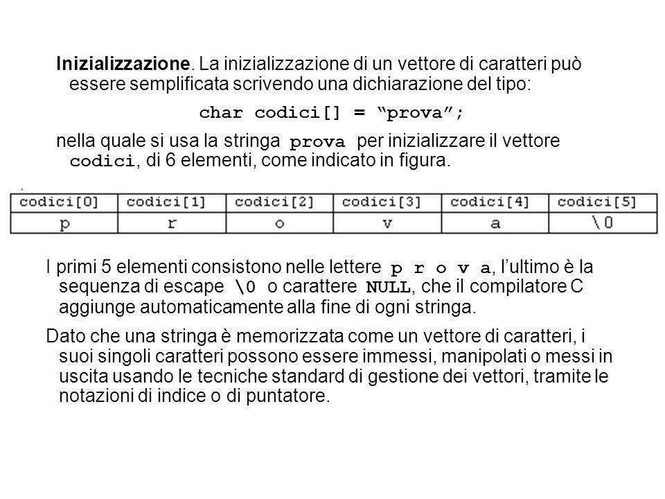 Inizializzazione. La inizializzazione di un vettore di caratteri può essere semplificata scrivendo una dichiarazione del tipo: char codici[] = prova;