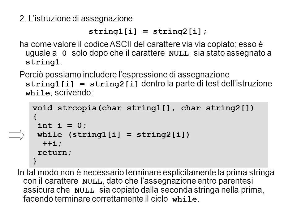 2. Listruzione di assegnazione string1[i] = string2[i]; ha come valore il codice ASCII del carattere via via copiato; esso è uguale a 0 solo dopo che