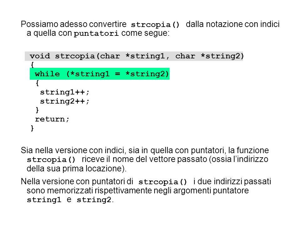 void strcopia(char *string1, char *string2) { while (*string1 = *string2) { string1++; string2++; } return; } Sia nella versione con indici, sia in qu