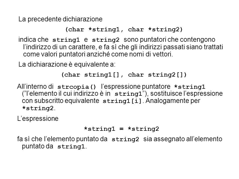 La precedente dichiarazione (char *string1, char *string2) indica che string1 e string2 sono puntatori che contengono lindirizzo di un carattere, e fa