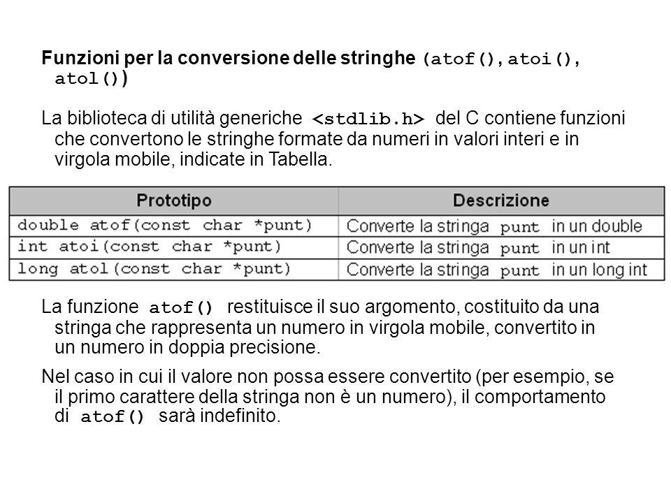 Funzioni per la conversione delle stringhe (atof(), atoi(), atol() ) La biblioteca di utilità generiche del C contiene funzioni che convertono le stri