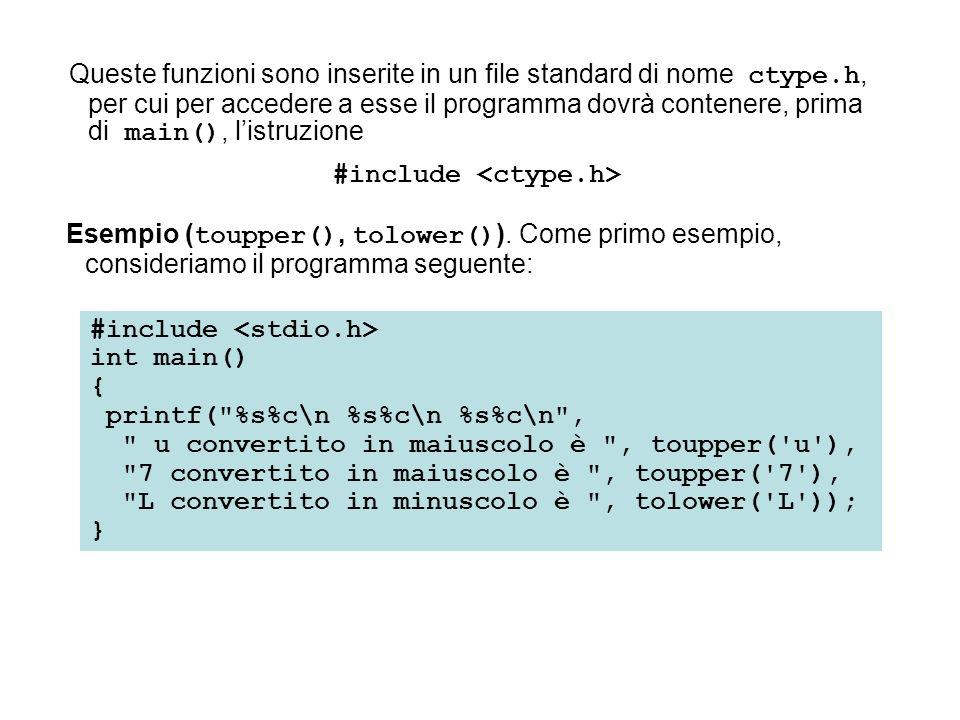Queste funzioni sono inserite in un file standard di nome ctype.h, per cui per accedere a esse il programma dovrà contenere, prima di main(), listruzi