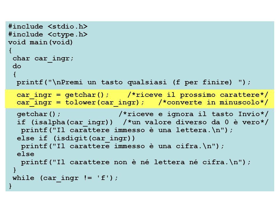 #include void main(void) { char car_ingr; do { printf(
