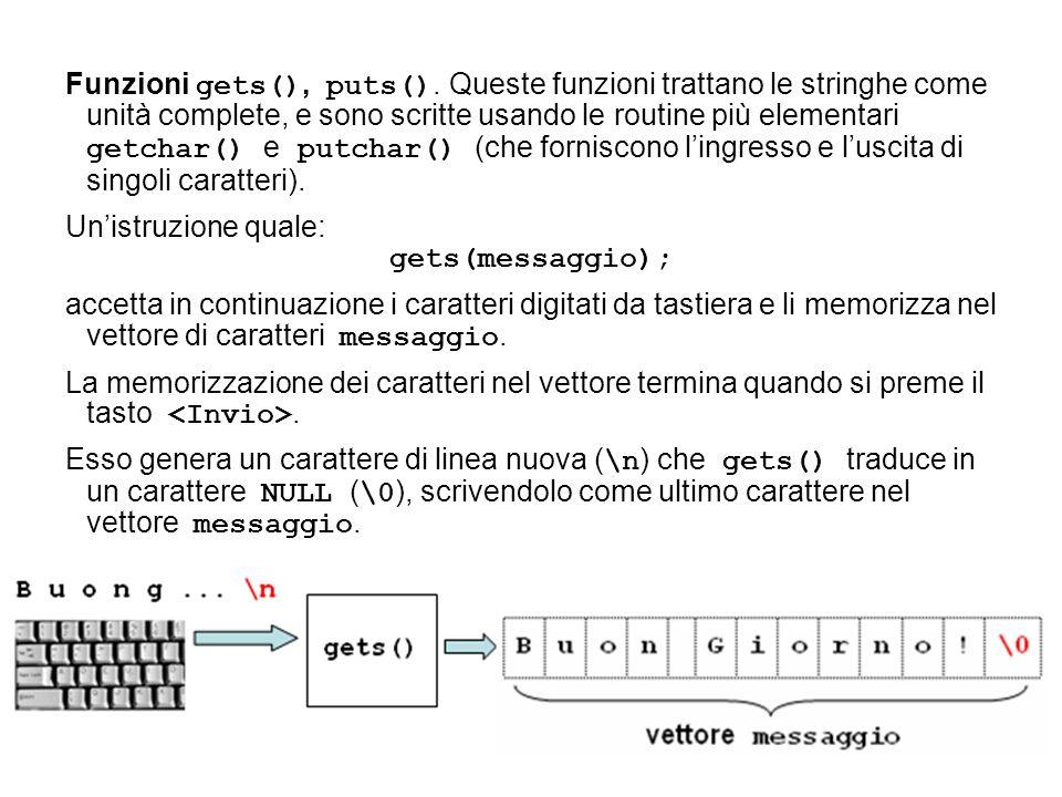 Funzioni gets(), puts(). Queste funzioni trattano le stringhe come unità complete, e sono scritte usando le routine più elementari getchar() e putchar