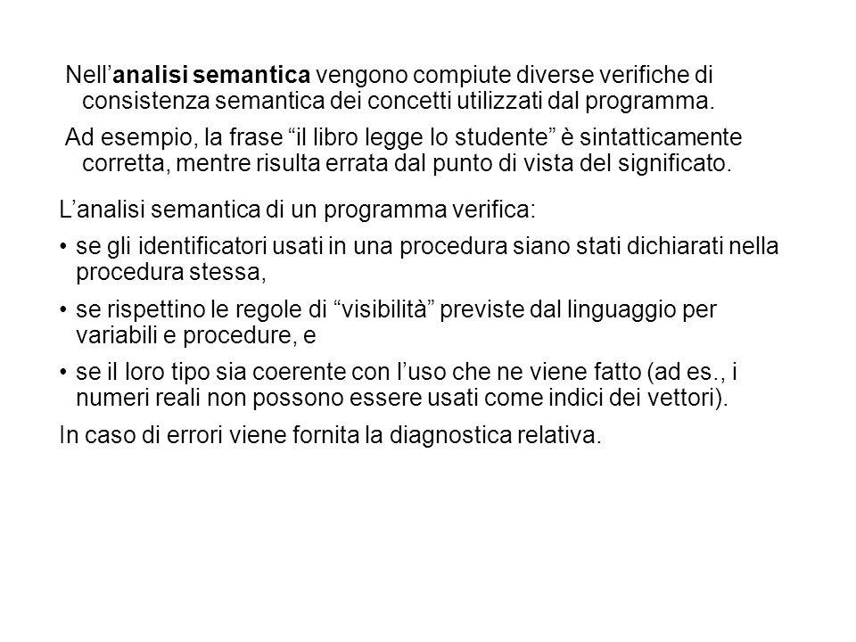 Nellanalisi semantica vengono compiute diverse verifiche di consistenza semantica dei concetti utilizzati dal programma.