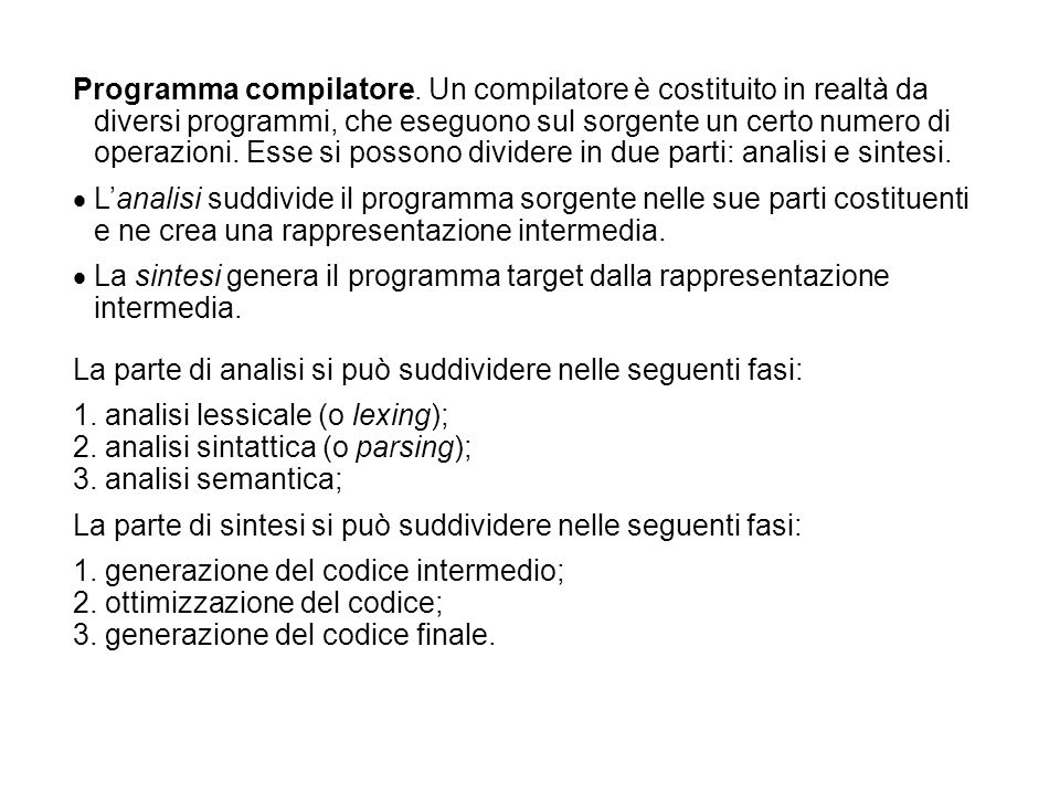 Programma compilatore.