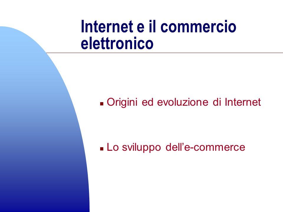 Internet e il commercio elettronico n Origini ed evoluzione di Internet n Lo sviluppo delle-commerce