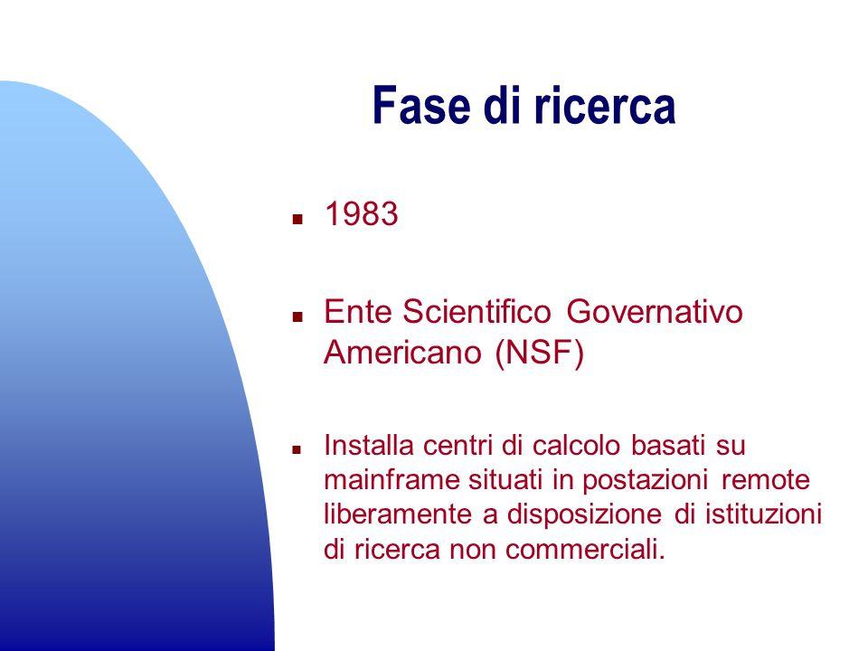 Fase di ricerca n 1983 n Ente Scientifico Governativo Americano (NSF) n Installa centri di calcolo basati su mainframe situati in postazioni remote li
