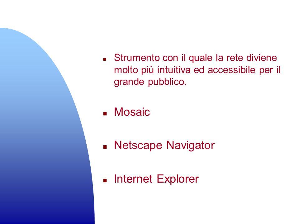 n Strumento con il quale la rete diviene molto più intuitiva ed accessibile per il grande pubblico. n Mosaic n Netscape Navigator n Internet Explorer