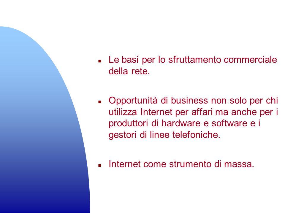 n Le basi per lo sfruttamento commerciale della rete. n Opportunità di business non solo per chi utilizza Internet per affari ma anche per i produttor