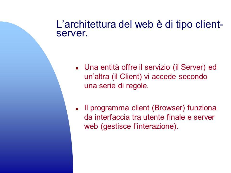 Larchitettura del web è di tipo client- server. n Una entità offre il servizio (il Server) ed unaltra (il Client) vi accede secondo una serie di regol