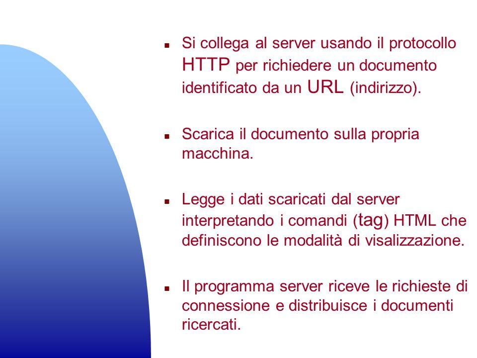 n Si collega al server usando il protocollo HTTP per richiedere un documento identificato da un URL (indirizzo). n Scarica il documento sulla propria