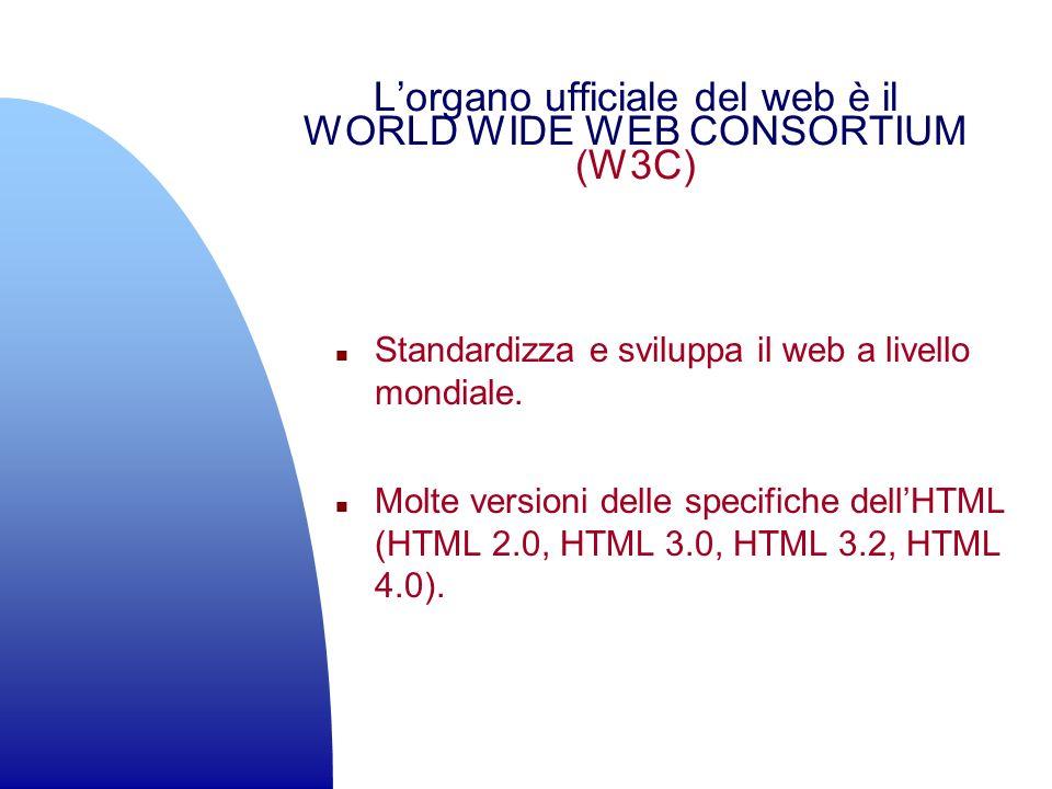 Lorgano ufficiale del web è il WORLD WIDE WEB CONSORTIUM (W3C) n Standardizza e sviluppa il web a livello mondiale. n Molte versioni delle specifiche