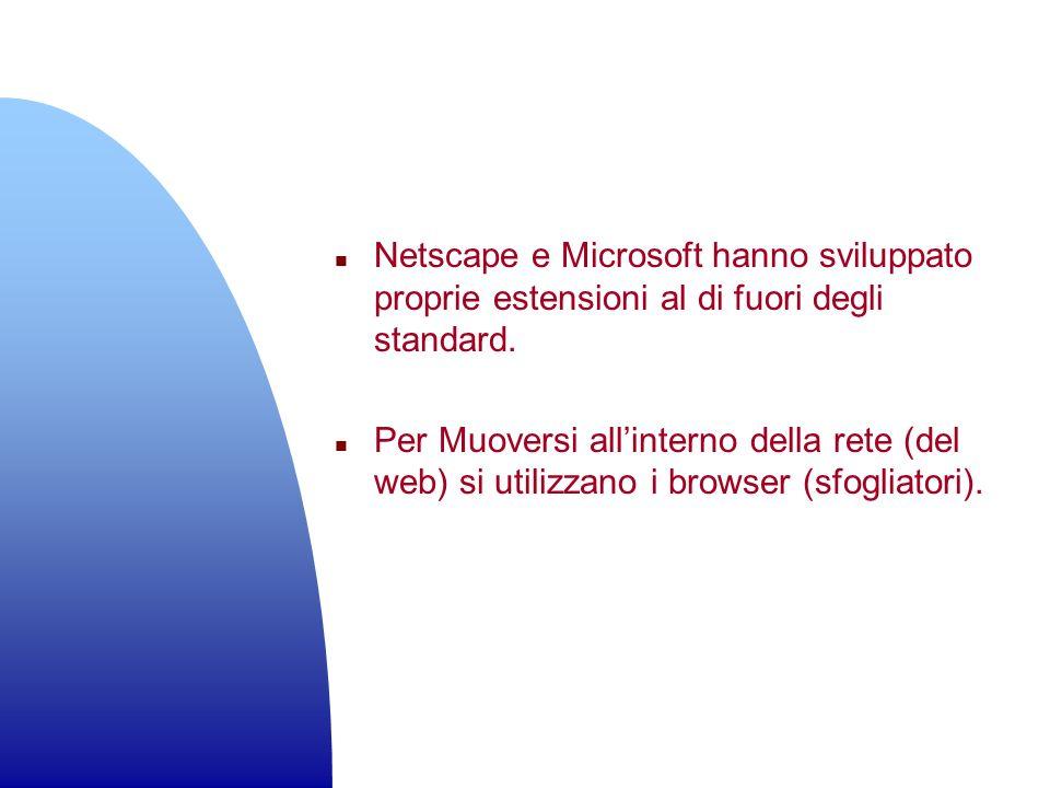 n Netscape e Microsoft hanno sviluppato proprie estensioni al di fuori degli standard. n Per Muoversi allinterno della rete (del web) si utilizzano i