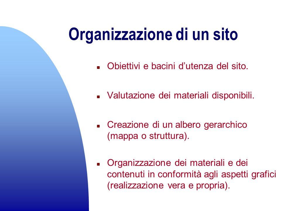 Organizzazione di un sito n Obiettivi e bacini dutenza del sito. n Valutazione dei materiali disponibili. n Creazione di un albero gerarchico (mappa o
