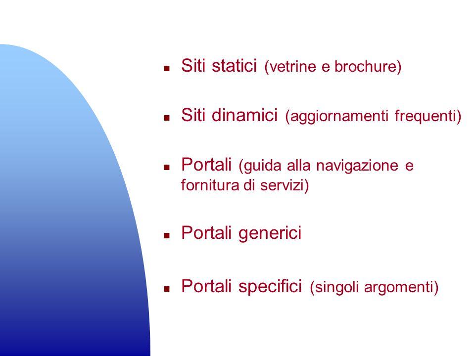 n Siti statici (vetrine e brochure) n Siti dinamici (aggiornamenti frequenti) n Portali (guida alla navigazione e fornitura di servizi) n Portali gene