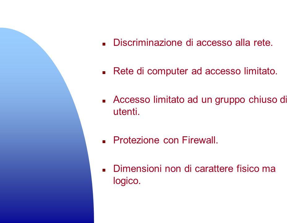 n Discriminazione di accesso alla rete. n Rete di computer ad accesso limitato. n Accesso limitato ad un gruppo chiuso di utenti. n Protezione con Fir