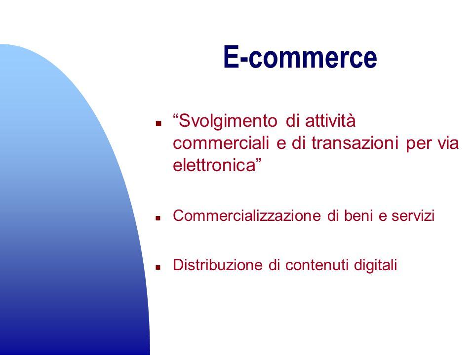 E-commerce n Svolgimento di attività commerciali e di transazioni per via elettronica n Commercializzazione di beni e servizi n Distribuzione di conte