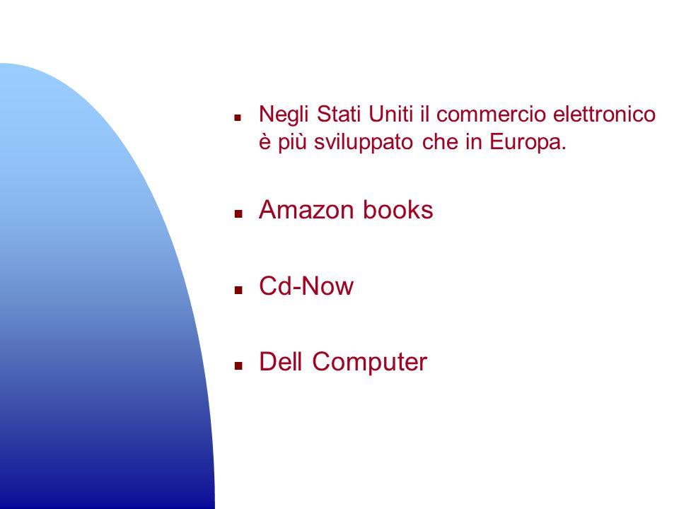 n Negli Stati Uniti il commercio elettronico è più sviluppato che in Europa. n Amazon books n Cd-Now n Dell Computer