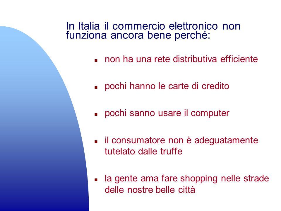 In Italia il commercio elettronico non funziona ancora bene perché: n non ha una rete distributiva efficiente n pochi hanno le carte di credito n poch