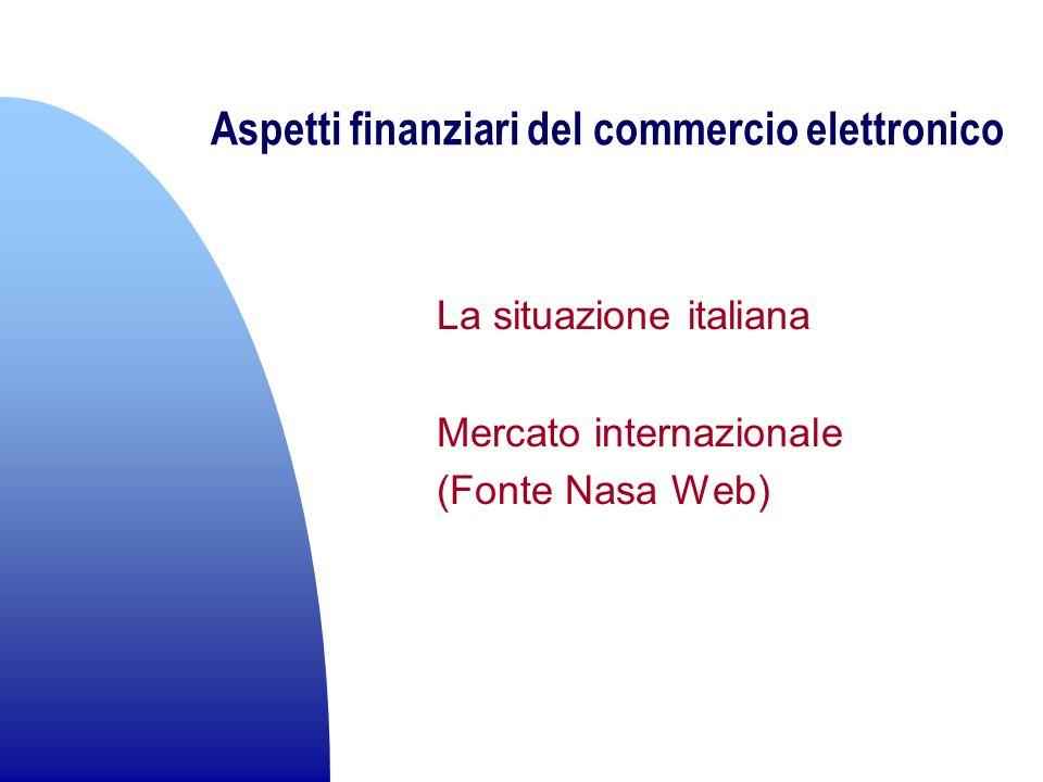Aspetti finanziari del commercio elettronico La situazione italiana Mercato internazionale (Fonte Nasa Web)