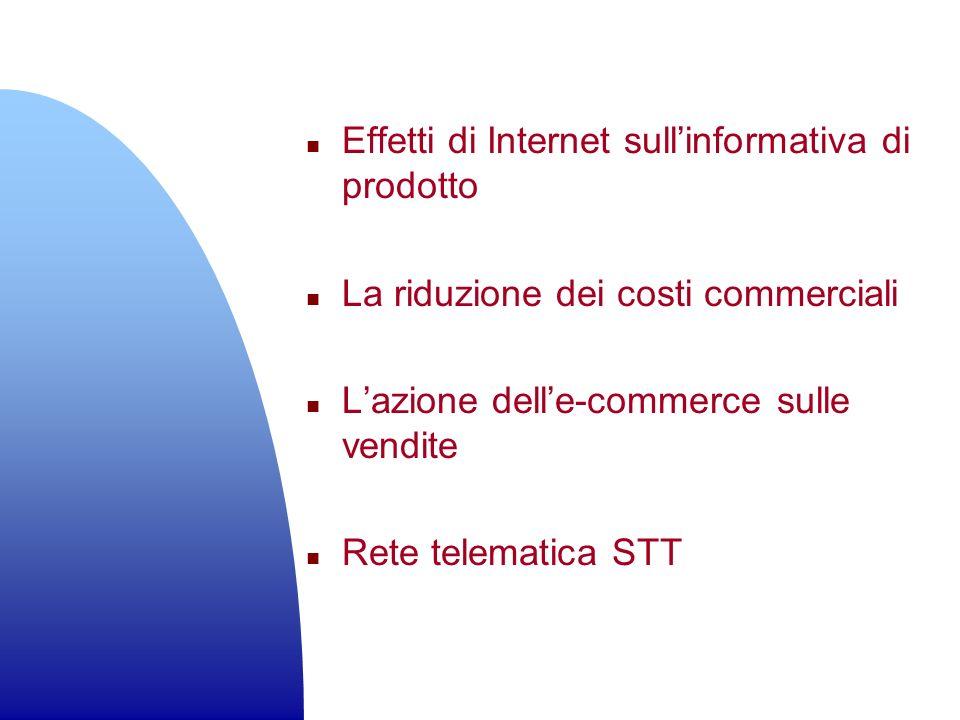 n Effetti di Internet sullinformativa di prodotto n La riduzione dei costi commerciali n Lazione delle-commerce sulle vendite n Rete telematica STT