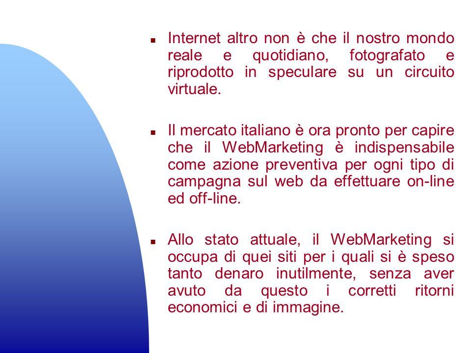 n Internet altro non è che il nostro mondo reale e quotidiano, fotografato e riprodotto in speculare su un circuito virtuale. n Il mercato italiano è